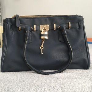 Aldo Navy Faux Leather Purse with Lock & Key Charm